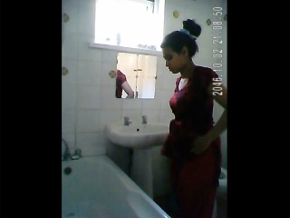 Indian girl in shower filmed nude